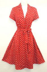 1b31692a16cd New Red Polka Dot WWII 1940's Vintage style classic Shirt Swing Tea Dress.